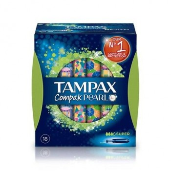 TAMPAX COMPAK PEARL TAMPON 100%ALGODON SUPER 18